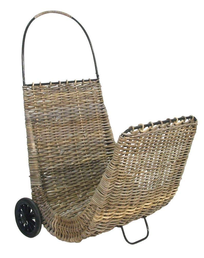 Chariot à bûches sur roulettes en poelet