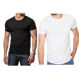 Lot de 3 t-shirt homme,tee-shirt 100% coton,tee-shirt manches courte col rond,noir ou blanc