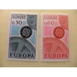 ANDORRA FRANCESA 1967 EUROPA CEPT TURISMO YVERT 179 /80 ** MNH