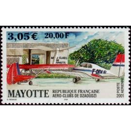 mayotte, département français 2001, très bel exemplaire de poste aérienne neuf** luxe yvert 5 - aéroclub de dzaoudzi, avions au sol.