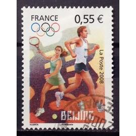 """timbre oblitéré J.O. Pékin """"tennis et course à pied"""""""