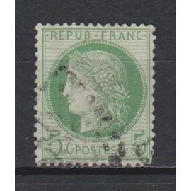 France, 1872, Type Cérès, Classique N°53 (5 C. Vert-Jaune S. Azuré), Oblitéré.