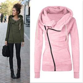 Sweatshirt à capuche zippé sur le côté pour femmes