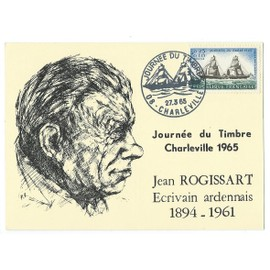 carte postale journée du timbre 1965 charleville jean rogissart. Oblitérée 1er jour.
