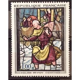 Vitrail Eglise Ste Foy à Conches 1,00 (Superbe n° 1377) Obl - Cote 4,60€ - France Année 1963 - N10125