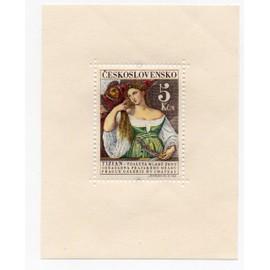 Tchécoslovaquie- Bloc feuillet neuf- Tizian Femme à la Toilette ( Galerie du Château à Prague)