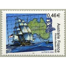 """timbre Flinders-Baudin 1802 Bâtiment """"Investigator"""" (emission de 2002)"""