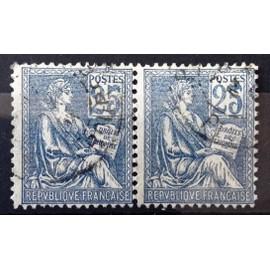 Paire Mouchon (Cartouche Carré) 25c bleu - Type I (25 décalé et/ou trait continu) (Très Jolis n° 114) Obl - Cote 20,00€ - France Année 1900 - N4851