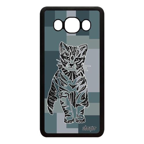 Coque Samsung J5 2016 silicone chat smartphone tigré dessin Gris animal a Samsung Galaxy J5 2016