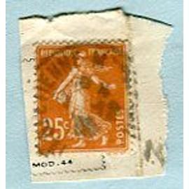 """Timbre Oblitéré - Type """" Semeuse Camée """" - 25 Cts - Roty / Mouchon - 1927"""