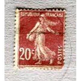 """Timbre Oblitéré - Type """" Semeuse Camée """" - 20 Cts - Roty / Mouchon - 1907"""
