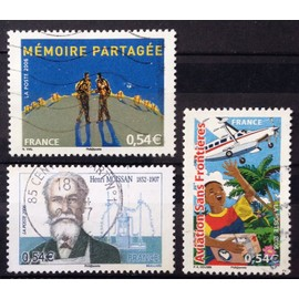 Aviation Sans Frontières 0,54€ (N° 3974) +Henri Moissan (Prix Nobel de Chimie) 0,54€ (N° 3975) + Mémoire Partagée 0,54€ (N° 3976) Obl - France Année 2006 - N24950