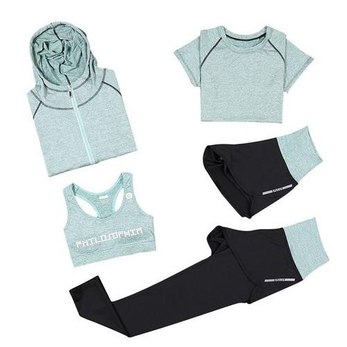 Yoga Fitness Tenue 5 pi/èce Ensemble pour Femme Ensemble de Sport de Suduation Jogging surv/êtement