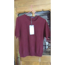 b2242c687a9 Pull Cachemire Col Rond Vicuna Couleur Grenat