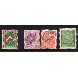Algérie - Lot de 3 timbres Affranchissement Poste et 1 timbre taxe oblitéré
