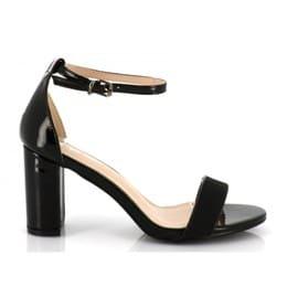 19922bc2da2c62 Sandales Femme En Similicuir Verni Et Strass Brillant - Chaussure D'eté  Talon Bloc Haut