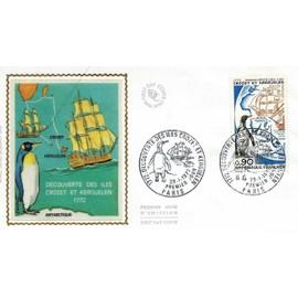 france 1972, belle enveloppe 1er jour, timbre yvert 1704, 200ème anniversaire de la découverte des îles Kerguelen par Yves Joseph de Kerguelen de Trémarec, officier de marine, belle illustr. soie, TBE