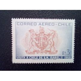 timbre CHILI YT PA 251 Blason chilien Visite de la reine Elizabeth II 1968 ( 080512 )