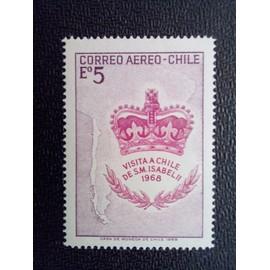 timbre CHILI YT PA 252 Couronne britannique et carte du Chili 1968 ( 080512 )