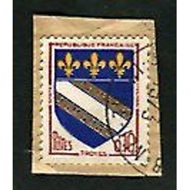 """Timbre Oblitéré - """" Blason Ville De Troyes """" - 0,10f - Louis / Fenneteaux - 1963"""