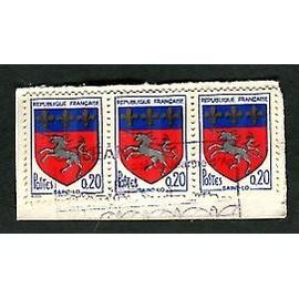 """Lot De 3 Timbres Oblitérés - """" Blason Ville De Saint-Lo """" - 0,20F - Mireille Louis - 1966"""