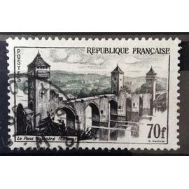 Pont Valentré à Cahors 70f (Joli n° 1119) Obl - France Année 1957 - N10551