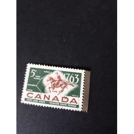 postier à cheval Canada timbre 1963
