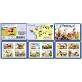 france 2013, très belle bande carnet neuve** luxe yvert 313, chevaux de trait de nos régions, 12 timbres auto-adhésifs validité permanente lettre verte, pour collection ou affranchissement.