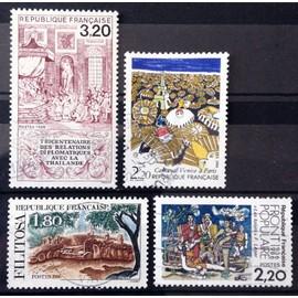 Relations Diplomatiques avec Thaïlande (N° 2393) + Front Populaire (N° 2394) + Carnaval Venise à Paris (N° 2395) + Monument Mégalithique de Filitosa (N° 2401) Obl - France Année 1986 - N14497