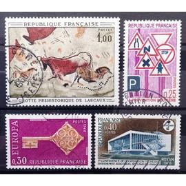 Prévention Routière (N° 1548) + Audio-Visuel Royan (N° 1554) + Grotte Lascaux 1,00 (N° 1555) + Europa Clé 0,30 (N° 1556) Obl - France Année 1968 - N14741