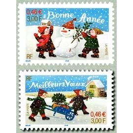 """france 2001, très beaux exemplaires neufs** luxe yvert 31 """"meilleurs voeux"""" enfants et brouette de cadeaux et 32 """"bonne année"""" enfants et bonhomme de neige, auto-adhésifs"""