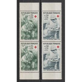 france, 1966, au profit de la croix-rouge, n°1508 + 1509 (paires verticales de carnet), neufs.