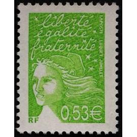 france 2002, très bel exemplaire neuf** luxe yvert 3450, marianne de luquet ou marianne de la révolution, 0.53€ vert jaune.