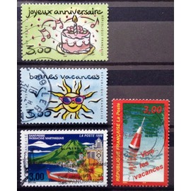 Bonnes Vacances Soleil (N° 3241) + Joyeux Anniversaire Gâteau (N° 3242) + Vive les Vacances (Flotteur) (N° 3243) + Saint-Pierre Patrimoine Martiniquais (N° 3244) Obl - France Année 1999 - N14764