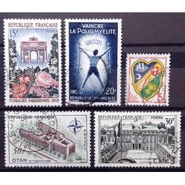 Floralies Parisiennes (N° 1189) + Elysée 30f (N° 1192) + Vaincre Poliomyélite (N° 1224) + OTAN 50f (N° 1228) + Blason - Alger 15f (N° 1195) Obl - France Année 1959 - N14789
