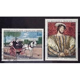 Douanier Rousseau - Carriole du Père Juniet 1,00 (N° 1517) + Jean Clouet - François 1er 1,00 (N° 1518) Obl - France Année 1967 - N15328