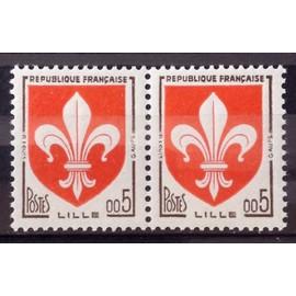 Armoiries de Villes - Blason - Lille 0,05 (Impeccables n° 1230) - Paire Neufs** Luxe (= Sans Trace de Charnière) - Cote 10,00€ - France Année 1960 - N25313