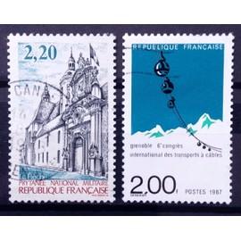 Prytanée National Militaire de la Flèche 2,20 (N° 2479) + Congrès Transports à Câbles - Grenoble 2,00 (N° 2480) Obl - France Année 1987 - N14995