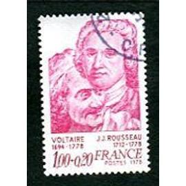"""Timbre Oblitéré - """" Voltaire Et J J Rousseau """" - 1,00 + 0,20 F - Lacaque - 1978"""
