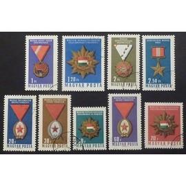 hongrie oblitéré y et t n° 1815 à 1823 lot de 9 timbres de 1966 Décorations nationales (série complète)