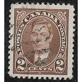 Timbre du Canada N°191 Y & T 2 c. brun roi george 6