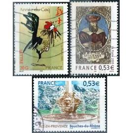 France, joli lot 2005, yvert 3749 astrologie chinoise, année du coq, 3777 aix en provence, fontaine des 4 dauphins et 3852 avicenne, médecin et philisophe, oblitérés, TBE