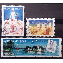 Golfe du Morbihan 0,53€ (N° 3783) + La Gastronomie 0,53€ (N° 3784) + Timbre Vacances - Cabines de Plage AutoAdhésif (N° 3788) Obl - France Année 2005 - N24587