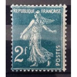 Semeuse 2f Vert-Bleu (Superbe n° 239) Neuf* - Cote 16,00€ - France Année 1927 - N25124