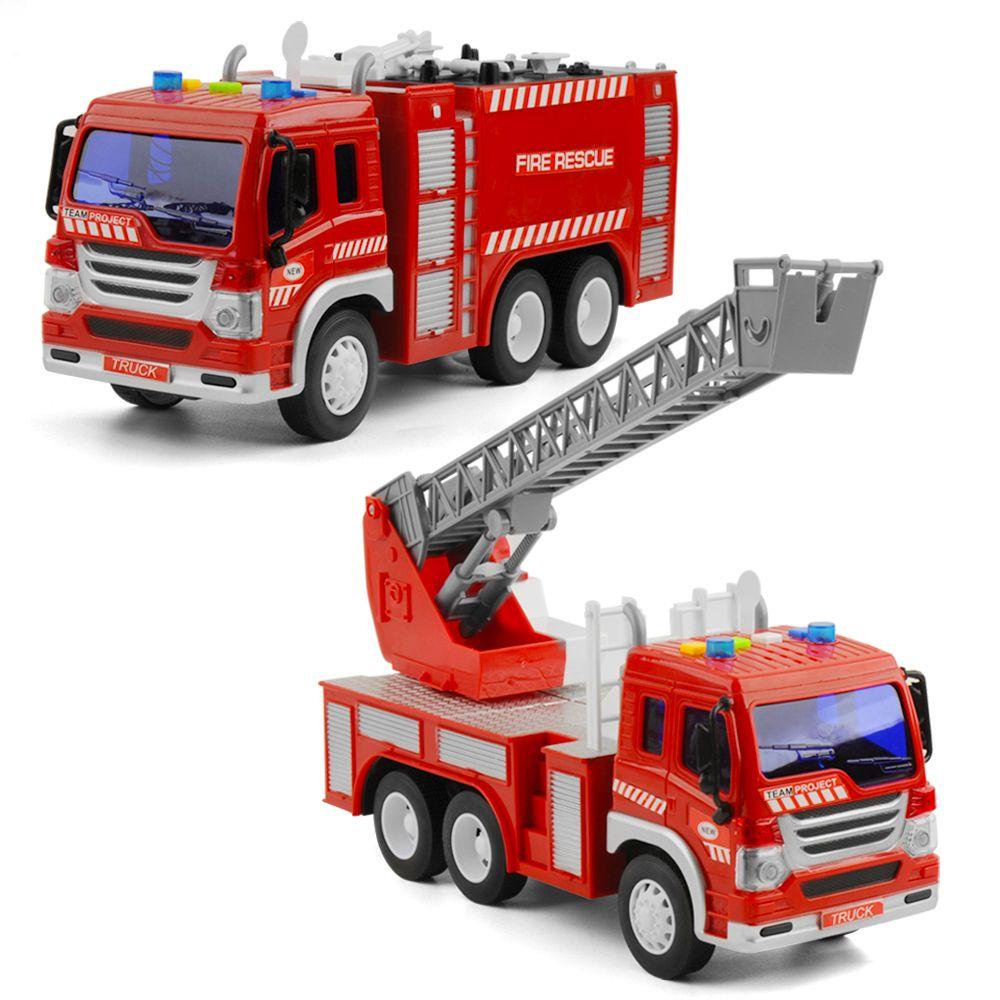 /échelle de Jeu Mobile Amusant v/éhicule durgence Roulant Classique et Blanc Playkidz 38,1 centim/ètres Jouet Camion de Pompier pour Les Enfants avec des lumi/ères et des Sons de sir/ène