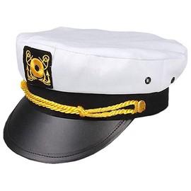 Marin Bateau Yacht Bateau Capitaine Hat Navy Marines Amiral Casquette Or Blanc 23400