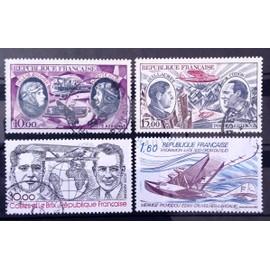 Poste Aérienne Obl - Boucher et Hilsz (N° 47) + Guillaumet et Codos (N° 48) + Costes et Le Brix (N° 55) + Hydravion Croix du Sud Mermoz (N° 56) - France Année 1972 - N13133