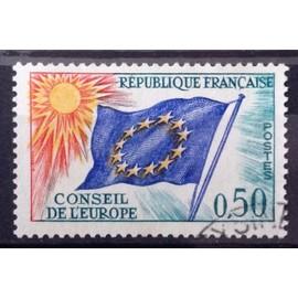 Conseil Europe Drapeau 0,50 vert, bleu, rouge et jaune (Superbe Service n° 33) Obl - France Année 1963 - N25171