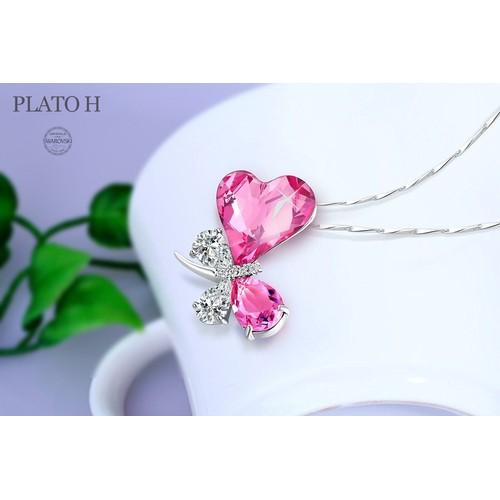 Coeur de Femmes Forme Collier papillon Collier papillon en cristal  Swarovski Pendentif Coeur 925