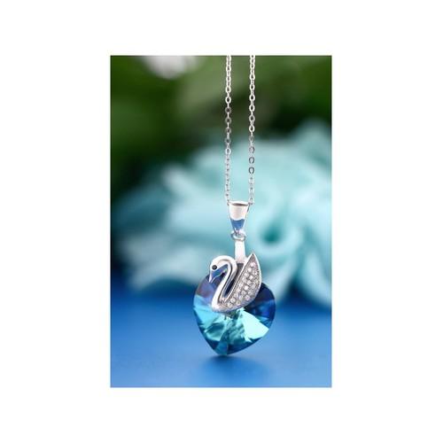 Craze Femmes Lac des Cygnes en argent sterling Pendentif Coeur Créé avec  cristaux Swarovski bleu